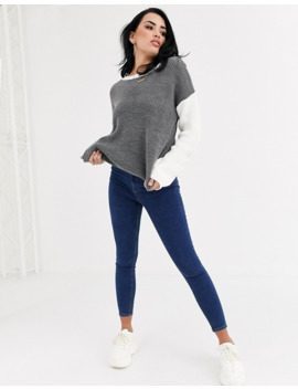 Boohoo   Pull Color Block   Gris Et Blanc by Boohoo