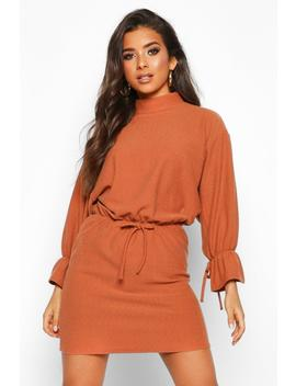 Funnel Neck Tie Sleeve Detail Shift Dress by Boohoo