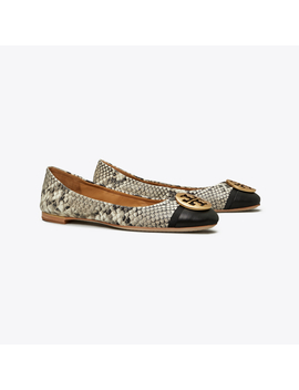 Minnie Cap Toe Travel Ballet Flat, Embossed Leather by Tory Burch