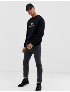 Fred Perry Large Logo Crew Neck Sweat In Black by Fred Perry's