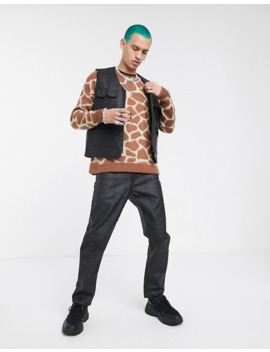 Asos Design Knitted Crew Neck Sweater In Giraffe Design by Asos Design