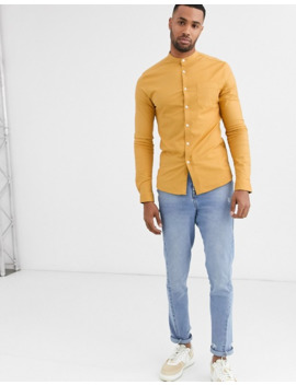 Asos Design Tall Skinny Fit Oxford Shirt In Mustard With Grandad Collar by Asos Design