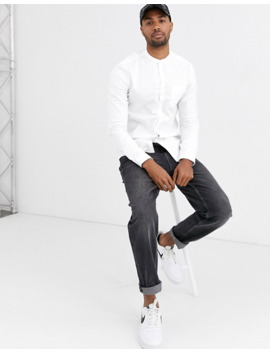 Asos Design Tall Stretch Slim Oxford Shirt With Grandad Collar In White by Asos Design