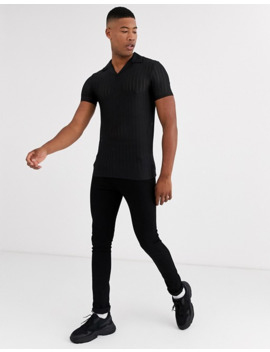 Asos Design Tall Skinny Revere Polo Shirt In Sheer Stripe In Black by Asos Design