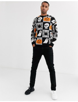 Asos Design Tall Halloween Sweater With Over Cartoon Design by Asos Design