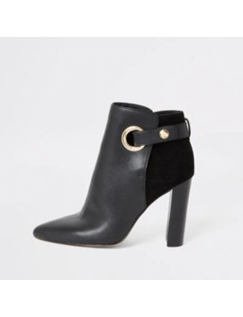 Black Eyelet Pointed Wide Fit Boots by River Island