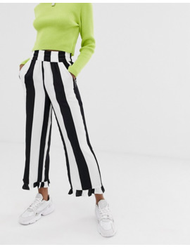 Collusion Petite Bold Stripe Trouser With Ruffle Hem by Collusion