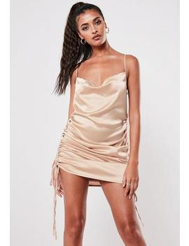 Champagne Satin Cowl Ruched Mini Dress by Missguided