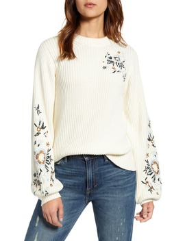 Embroidered Sleeve Rib Sweater by Lucky Brand