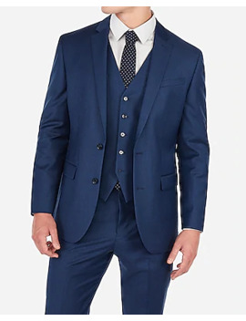 Classic Blue Wool Blend Stretch Suit Jacket by Express