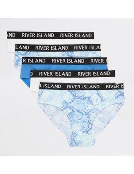 Girls Blue Snake Print Briefs Multipack by River Island