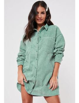Mint Oversized Cord Shirt Dress by Missguided