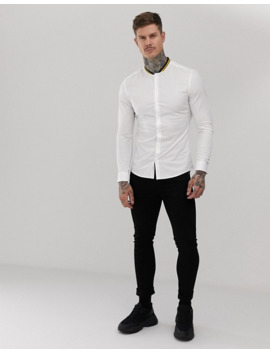 Asos Design Skinny Fit White Shirt With Contrast Rib Collar by Asos Design