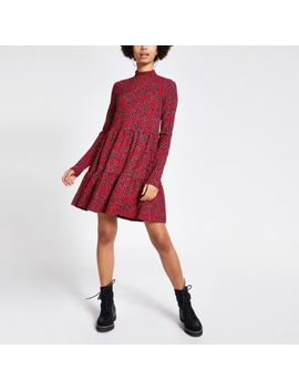 Red Floral Printed Jersey Mini Smock Dress by River Island