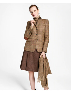 Checked Wool Tweed Hacking Jacket by Brooks Brothers