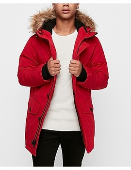 Sherpa Lined Removable Faux Fur Hood Parka by Express