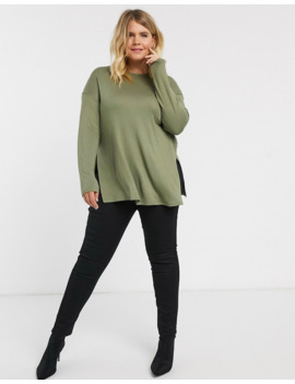 Asos Design Curve Longline Top With Long Sleeve In Textured Jersey In Khaki by Asos Design