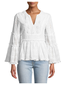 Melitta V Neck Long Sleeve Eyelet & Lace Blouse by Alexis
