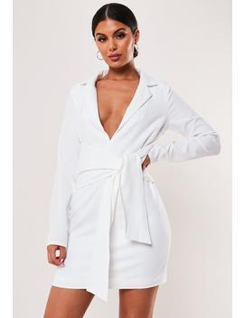 White Tie Front Stretch Blazer Dress by Missguided