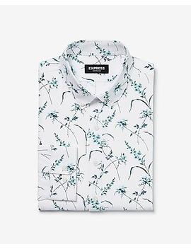 Slim Flower Print Wrinkle Resistant Performance Dress Shirt by Express