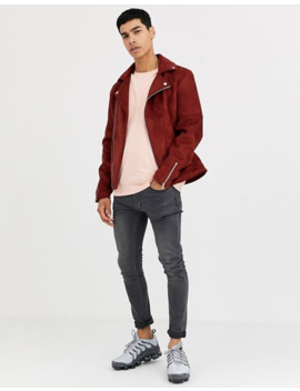 Asos Design Faux Suede Biker Jacket In Burgundy by Asos Design