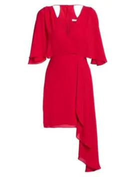 Flowy Faux Wrap Mini Dress by Halston
