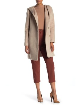 Hooded Wool Blend Coat by Cole Haan