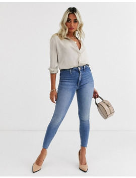 River Island Petite Kaia Skinny Jeans In Mid Wash by River Island