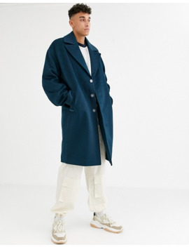 Asos White Tall Overcoat In Rich Blue Wool Mix by Asos White