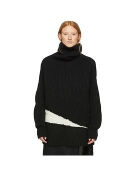 Black & White Wool Side Elastic Turtleneck by Ann Demeulemeester