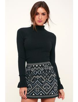 Jubilee Black Embroidered Mini Skirt by Lush
