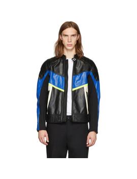 Black & Blue Leather Astars Ldue Jacket by Diesel