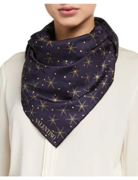 Valentino Metallic Star Print Silk Foulard Scarf  by Valentino