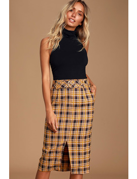 Faylen Mustard Yellow Plaid Belted Midi Skirt by Lulus