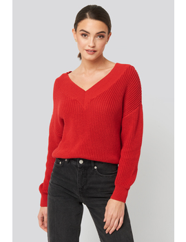 V Neck Wide Rib Knitted Sweater Red by Na Kd