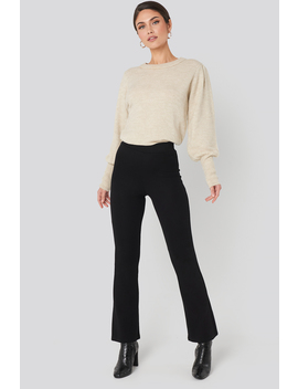 High Waist Flare Jersey Pants Black by Na Kd