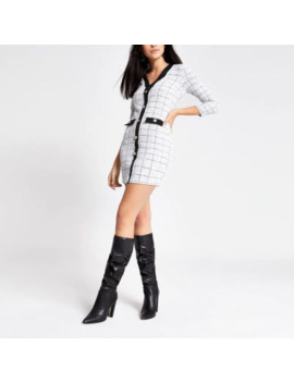 White Boucle Button Front Cardigan Dress by River Island