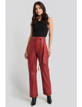 Faux Leather Belted Straight Leg Pants Red by Na Kd Party