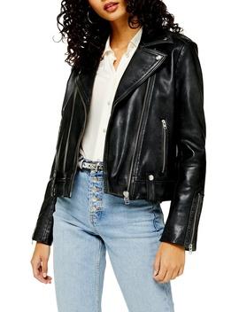 Mona Leather Biker Jacket by Topshop