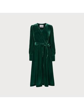 Roman Green Velvet Wrap Dress by L.K.Bennett