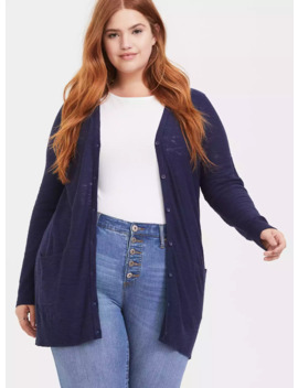 Navy Slub Boyfriend Cardigan by Torrid
