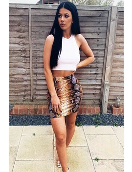 Orange Coated Snake Print Bodycon Mini Skirt   Gigi by Rebellious Fashion