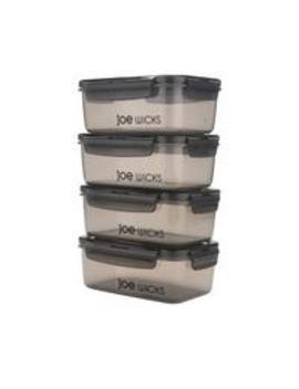4 Piece Rectangular Container Set   Grey by Joe Wicks