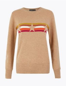Pure Cashmere Star Striped Jumper by Marks & Spencer