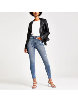 Mid Blue Authentic Hailey High Rise Jeans by River Island
