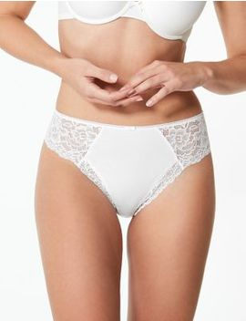 Cotton Blend Side Lace Thong by Marks & Spencer