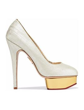 Dolly Scalloped Leather Platform Pumps by Charlotte Olympia