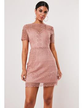 Pink Lace Overlay A Line Mini Dress by Missguided