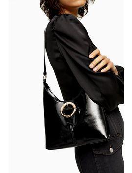 Amber Black Patent Shoulder Bag by Topshop