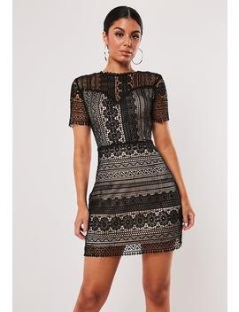 Black Lace Overlay A Line Mini Dress by Missguided